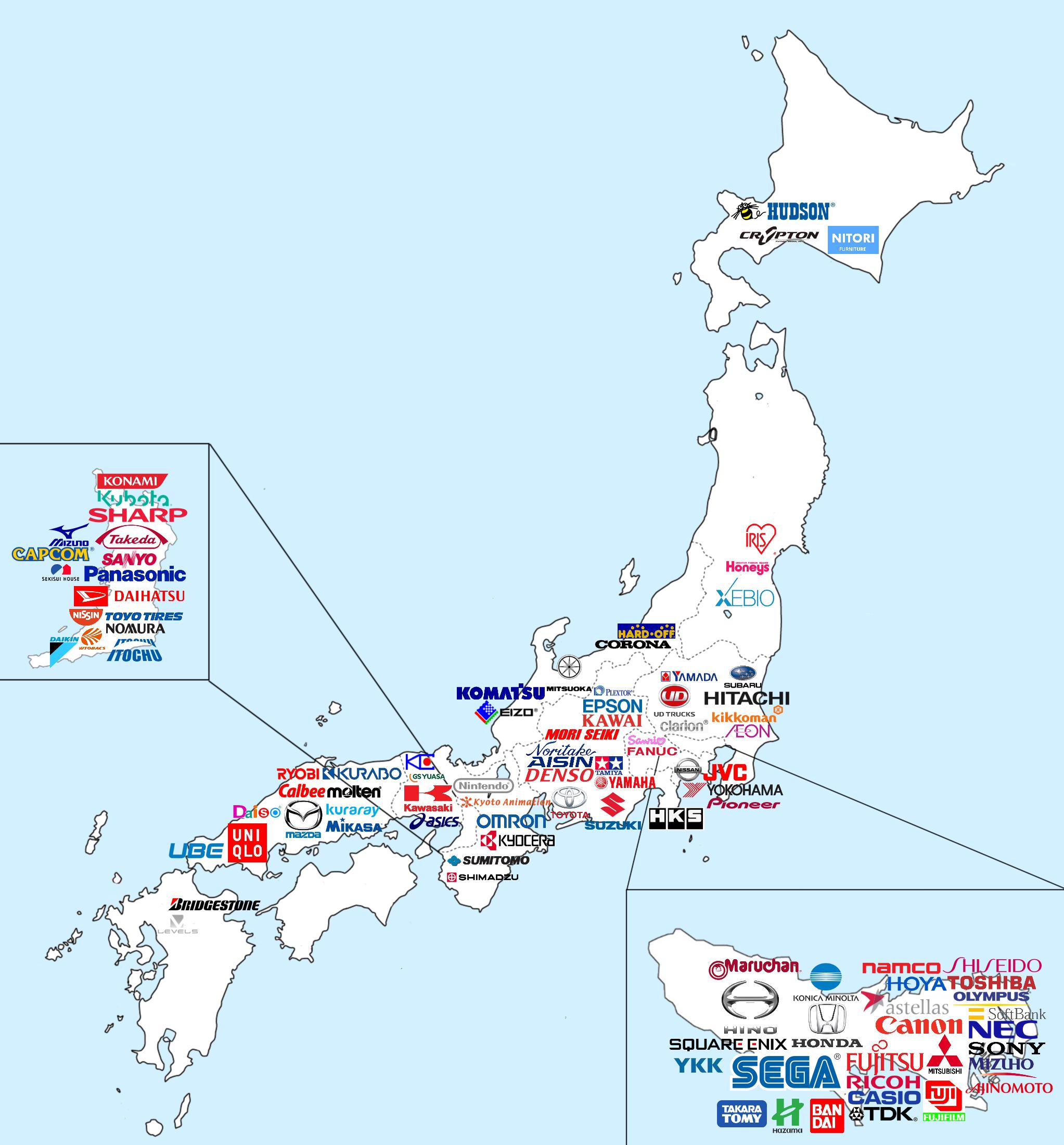 Map of major Japanese companies RONNIEROCKETCOM