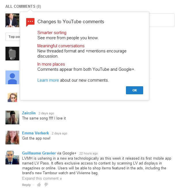 The YouTube comments integration with Google+ is a Facebook